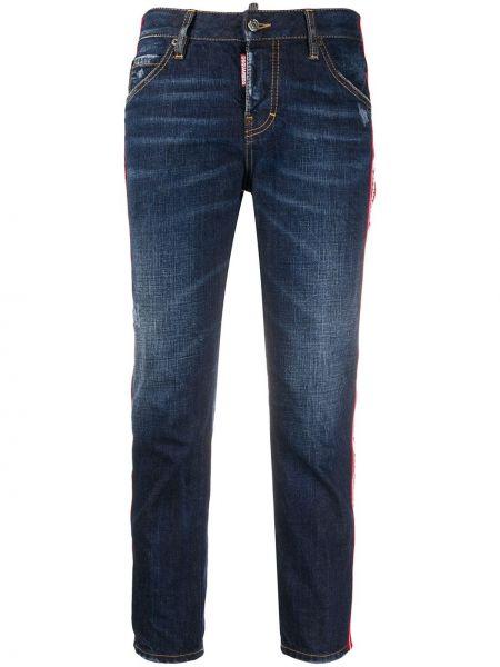Синие укороченные джинсы с карманами на пуговицах в стиле бохо Dsquared2