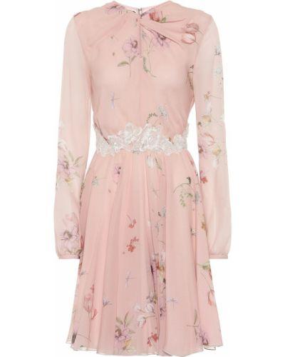 Шелковое розовое ажурное платье на шнурках Giambattista Valli