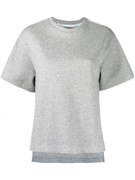 Шелковая серая прямая футболка с круглым вырезом Raeburn