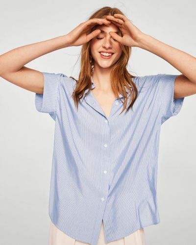 Блузка с коротким рукавом в полоску прямая Mango