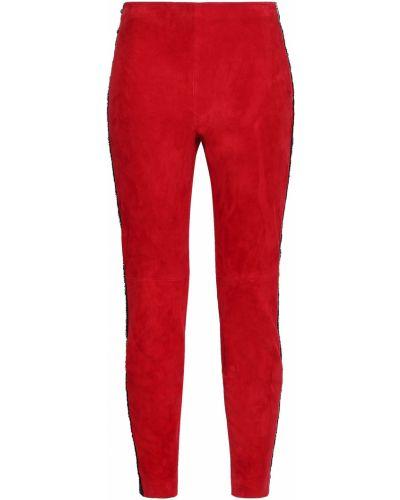 Кожаные брюки в полоску с нашивками Amanda Wakeley