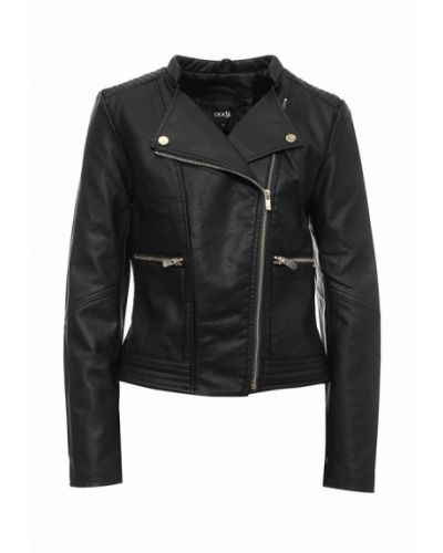 Кожаная куртка черная весенняя Oodji