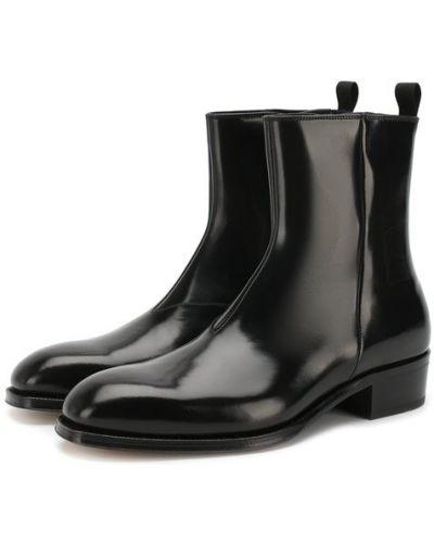 Сапоги кожаные на каблуке Alexander Mcqueen