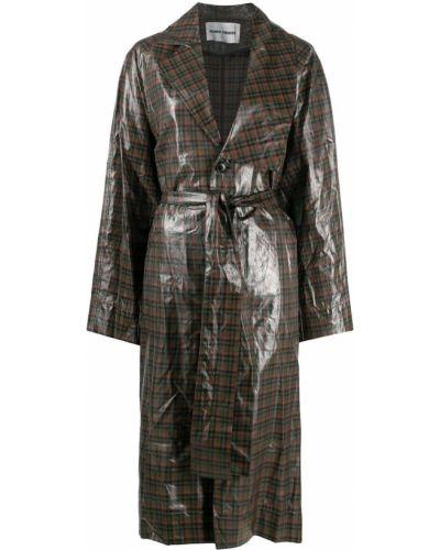 Czarny płaszcz przeciwdeszczowy bawełniany w kratę Henrik Vibskov