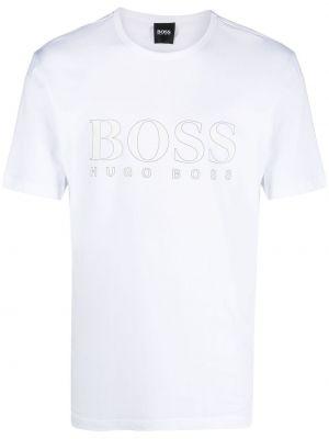 Прямая белая футболка с вырезом Boss Hugo Boss