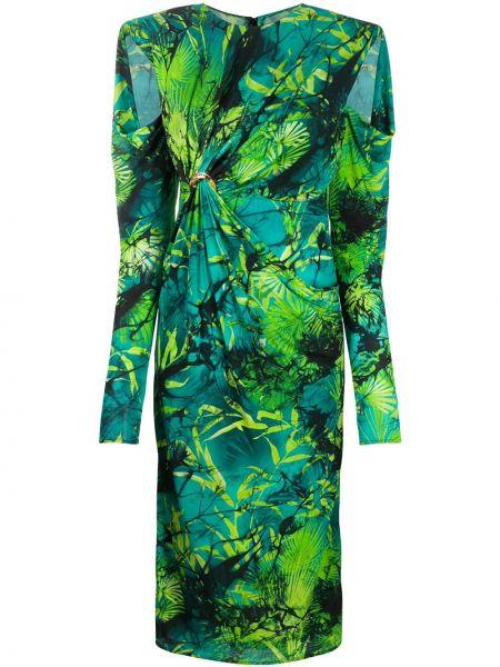 Зеленое плиссированное платье миди из вискозы Versace
