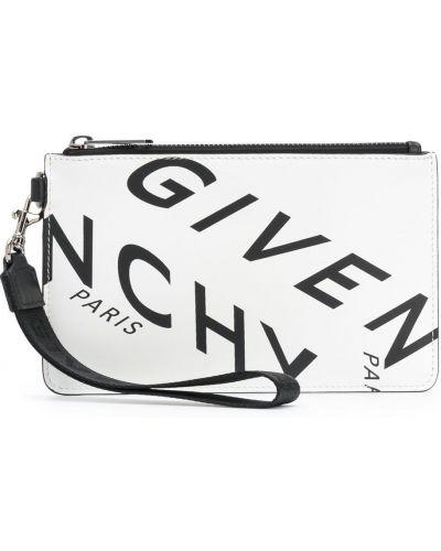 Skórzany srebro torba sprzęgło z kieszeniami Givenchy