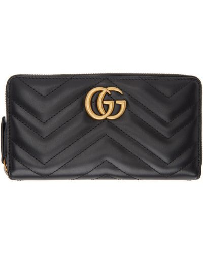 Czarny skórzany portfel prążkowany z gniazdem Gucci