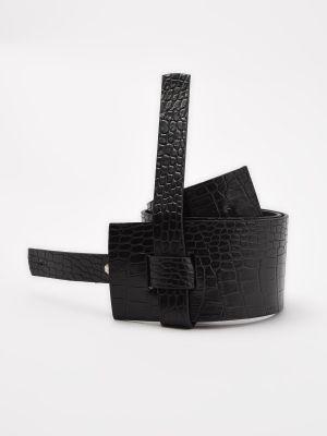 Pasek skórzany - czarny Trendyol