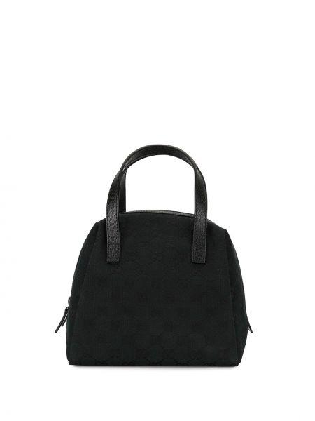Парусиновая черная сумка-тоут Gucci Pre-owned