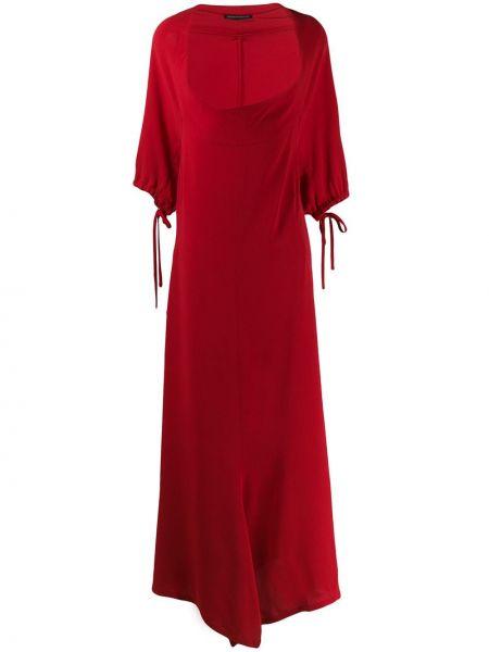 Красное шелковое платье с завязками с круглым вырезом Yohji Yamamoto Pre-owned