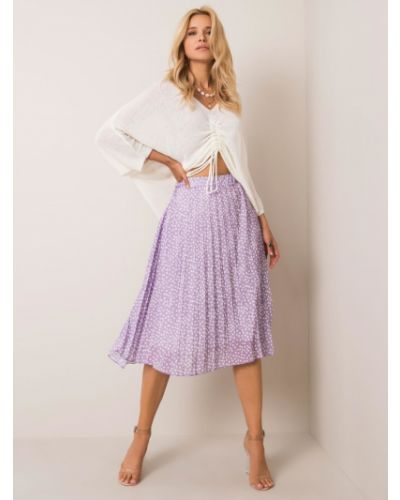 Fioletowa spódnica w grochy materiałowa Fashionhunters