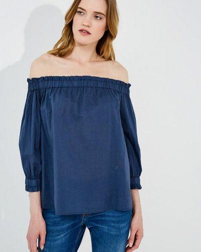 Синяя блузка с открытыми плечами Emporio Armani