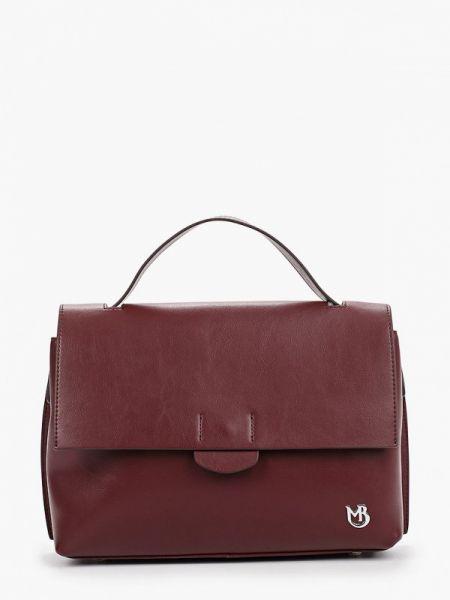 Кожаная сумка с ручками бордовый Marco Bonne