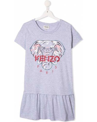 Sukienka mini bawełniana krótki rękaw z printem Kenzo Kids