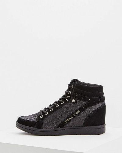 Черные джинсы с высокой посадкой Versace Jeans