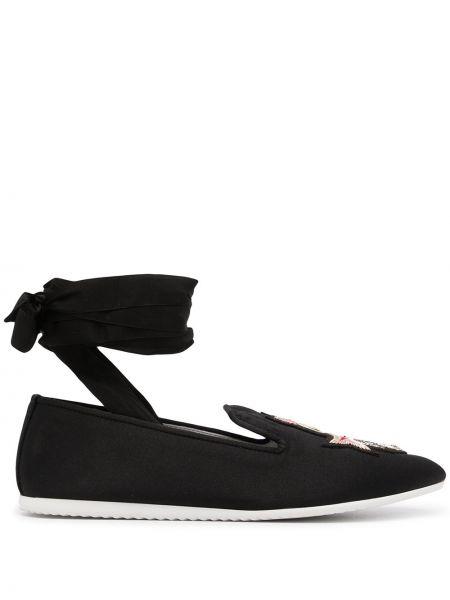 Czarne loafers z haftem bawełniane Joshua Sanders
