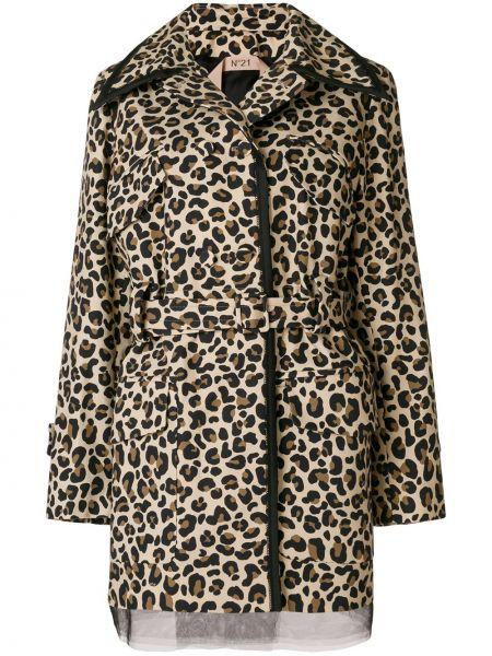 Коричневая куртка на пуговицах свободного кроя с поясом N°21