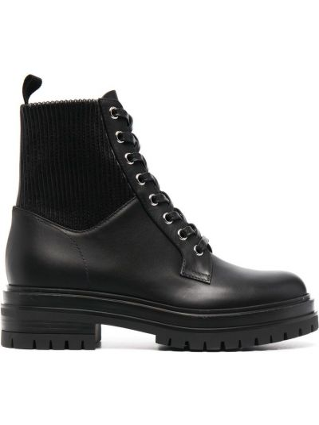 Кожаные черные носки на шнуровке Gianvito Rossi