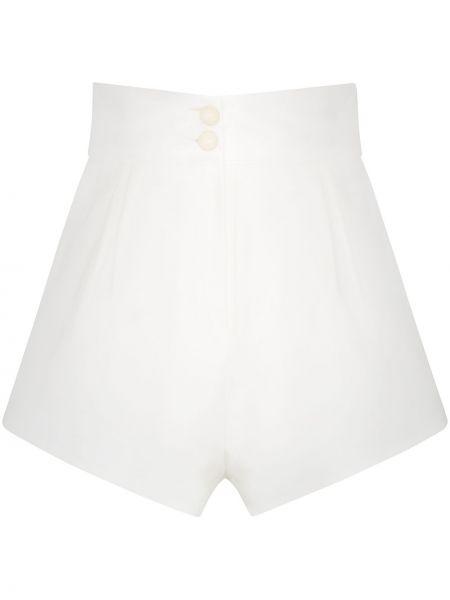 Плиссированные хлопковые белые шорты Adriana Degreas