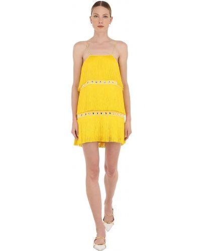 Платье мини с декольте с бахромой Sara Battaglia