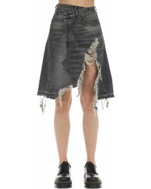 Джинсовая юбка асимметричная с карманами R13