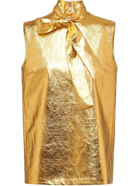 Кожаная прямая блузка без рукавов с воротником золотая Prada
