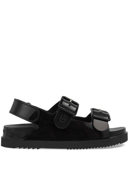 Sandały peep toe - czarne Gucci