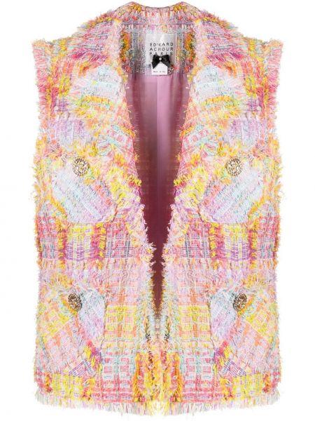 Różowa kurtka bez rękawów z akrylu Edward Achour Paris