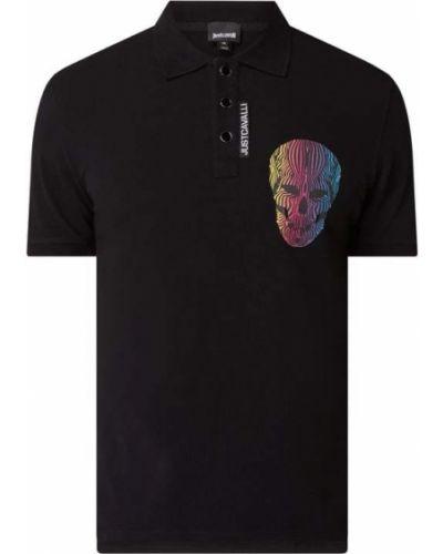 Czarny t-shirt bawełniany z printem Just Cavalli