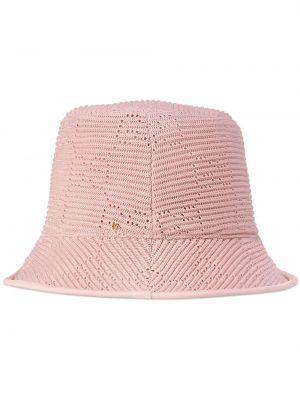 Różowy kapelusz skórzany Gucci