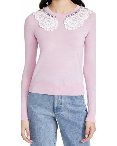 Розовый шерстяной свитер с воротником No. 21