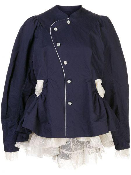 Синяя куртка на пуговицах металлическая с воротником Renli Su