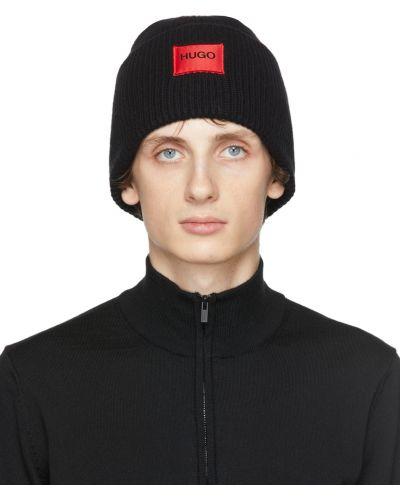 Шерстяная шапка бини - черная Hugo