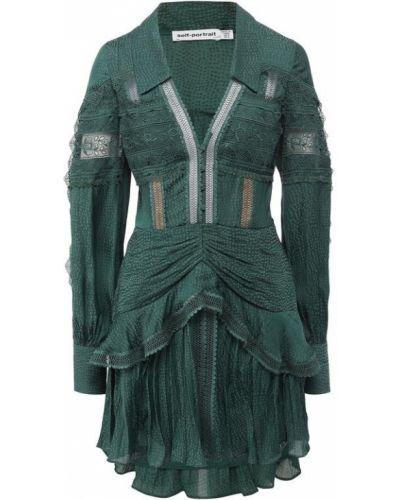 Платье мини с подкладкой зеленый Self-portrait