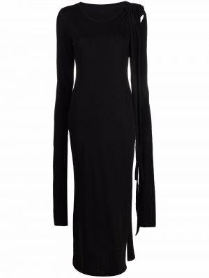 Czarna sukienka koronkowa z długimi rękawami Yohji Yamamoto