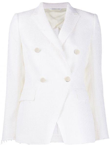 Белый пиджак двубортный с карманами Tonello