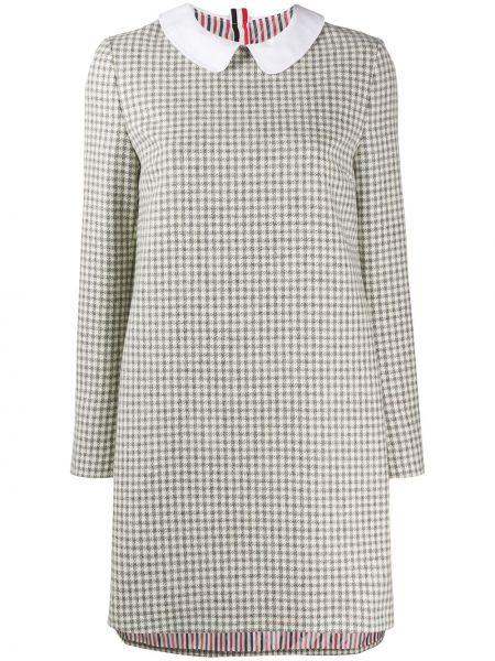 Sukienka mini z długimi rękawami wełniana z printem Thom Browne
