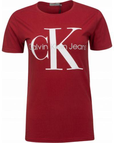 Czerwony bawełna koszula jeansowa okrągły Calvin Klein Jeans