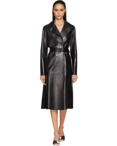 Черное кожаное пальто с карманами Sportmax