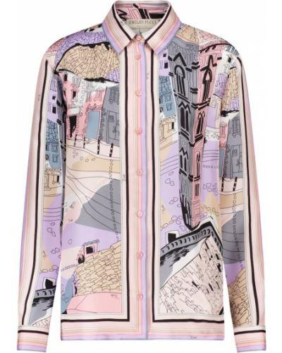 Городская розовая шелковая рубашка Emilio Pucci