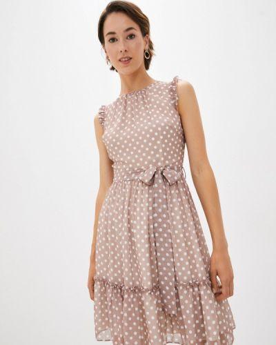 Бежевое прямое платье Lusio