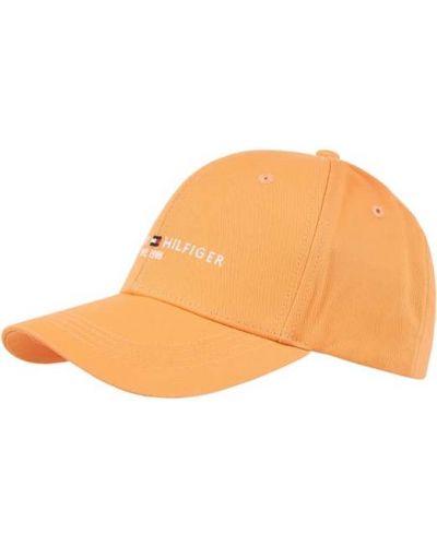 Pomarańczowa czapka bawełniana Tommy Hilfiger