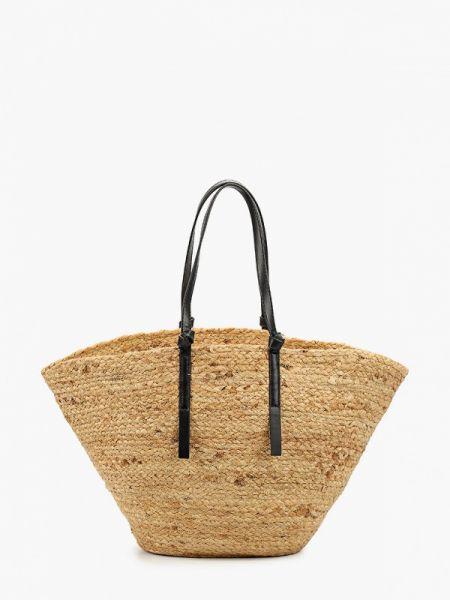 Пляжная сумка соломенная бежевый Mango