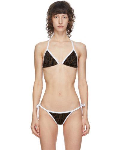Brązowy bikini prążkowany na paskach z kołnierzem kantarowym Fendi