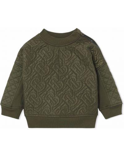 Zielona bluza z długimi rękawami Burberry Kids