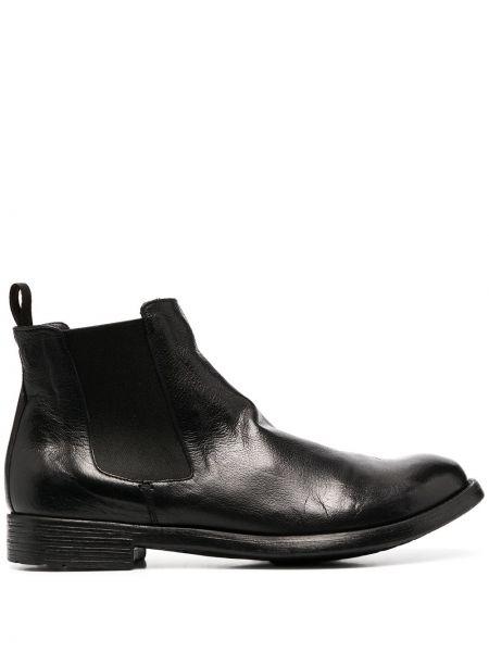 Skórzany czarny buty na pięcie na pięcie Officine Creative