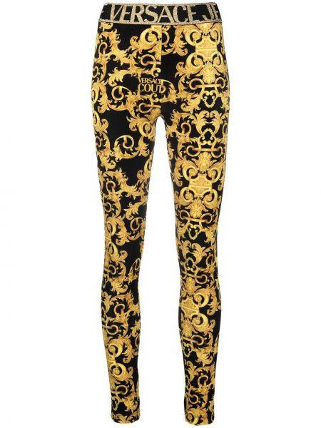 Золотистые черные джинсы-скинни стрейч Versace Jeans Couture
