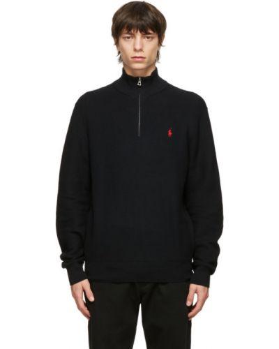 Z rękawami czarny długi sweter z kołnierzem Polo Ralph Lauren
