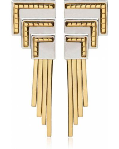 Białe złote kolczyki sztyfty pozłacane Monica Sordo